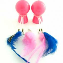 PINK NIPPLE SUCKERS WITH COLOURED FEATHERS