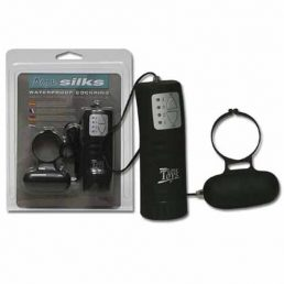 AQUA SILKS COCK RING WITH REMOTE SEPARATE CONTROL BLACK