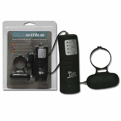 AQUA SILKS COCK RING WITH REMOTE SEPARATE CONTROL BLACK