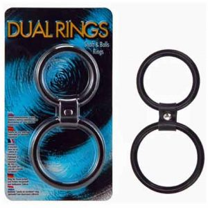DUAL RINGS - SHAFT AND BALLS RING BLACK