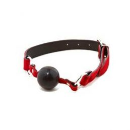 RED SUEDE LEATHER BALL GAG