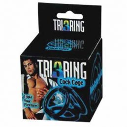 TRI 3 RING COCK CAGE TRIPLE ACTION PLEASURE BLACK