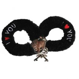 BLACK PLUSH I LOVE YOU HANDCUFFS