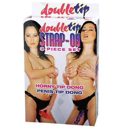 DOUBLE TIP STRAP-ON WITH 2 JELLY DONGS