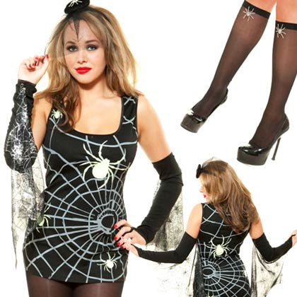 ROLE PLAY BLACK WIDOW SPIDER SEXY HALLOWEEN COSTUME