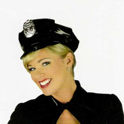 PVC POLICE HAT WITH SILVER BADGE